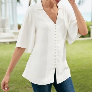 Soft Surroundings Chouteau Button Flounce Blouse